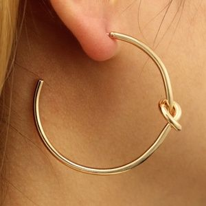 Unique Design//Bow Hoop Earrings Gold Silver